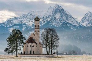 Фото бесплатно Кальман, Швангау, Алльга, Bavaria, Германия, церковь церковь, Нойшванштайн, Хоэншвангау, снег, Альпы, горы, пейзаж