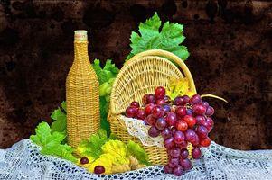 Бесплатные фото виноград,ягода,корзина,бутылка,натюрморт