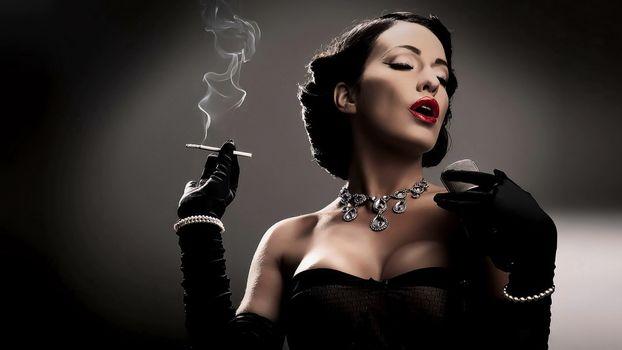 Photo of a smoking girl