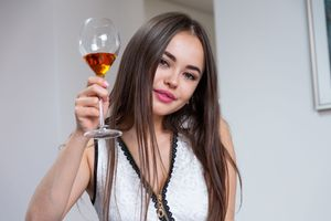 Annika with a glass of wine