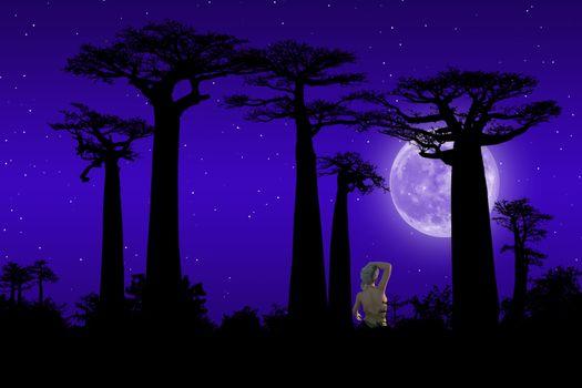 Фото бесплатно Луна, девушка, деревья