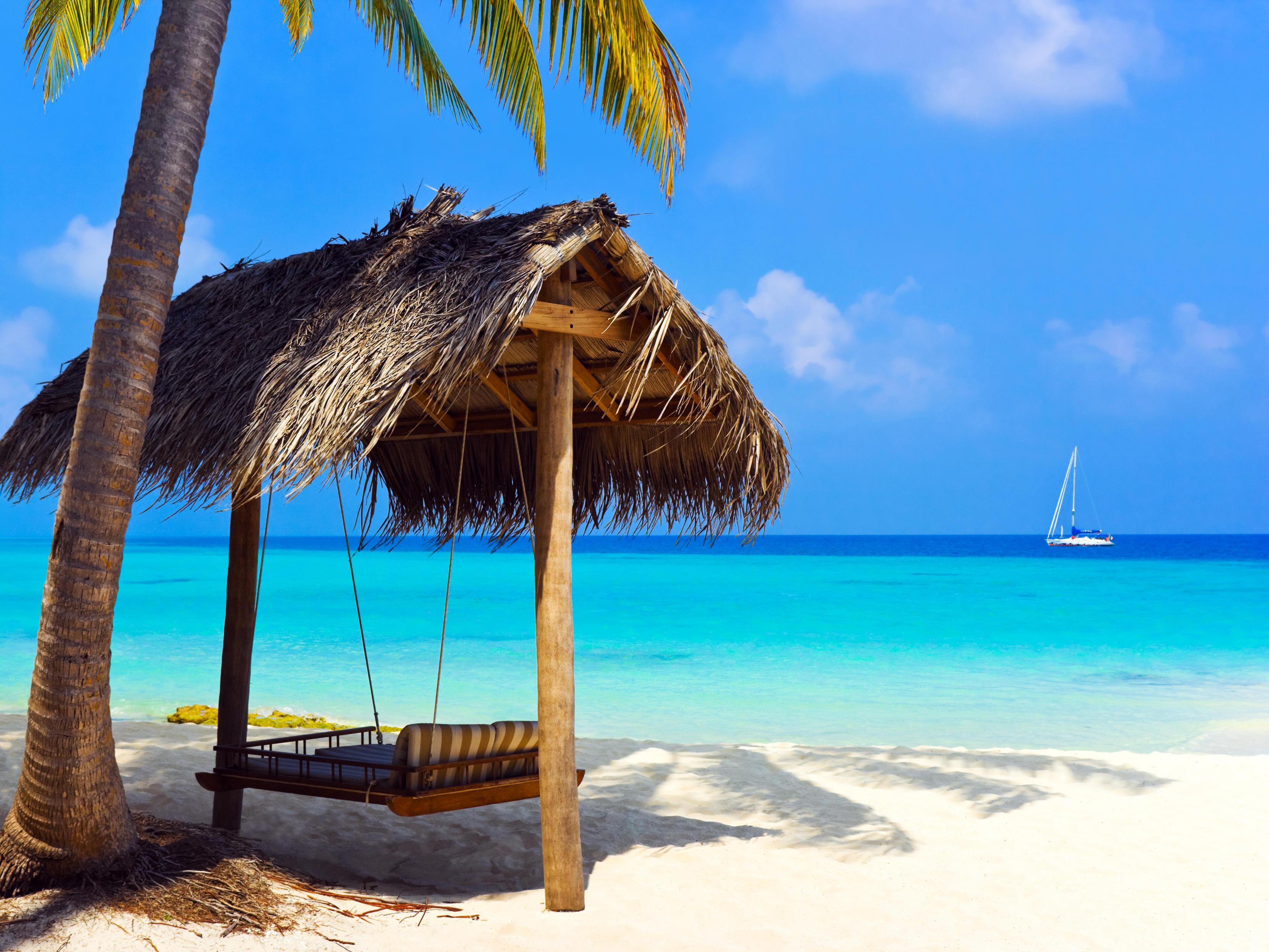Обои тропики, море, пляж, яхта