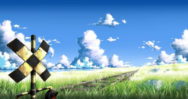 Заставки аниме пейзаж, железная дорога, поле