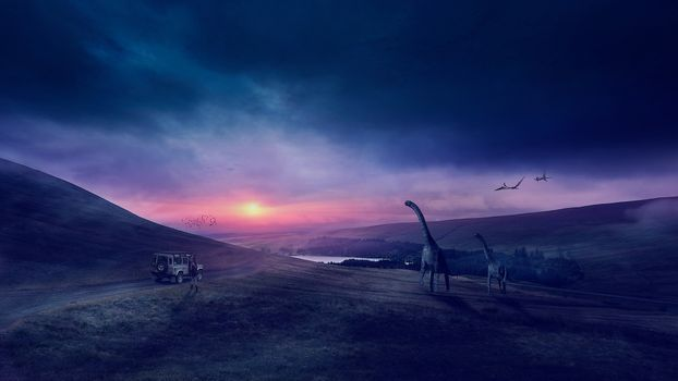 Фото бесплатно закат, парк юрского периода, динозавры