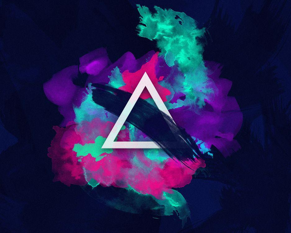 Фото бесплатно треугольник, неоновые цвета, кисть - на рабочий стол
