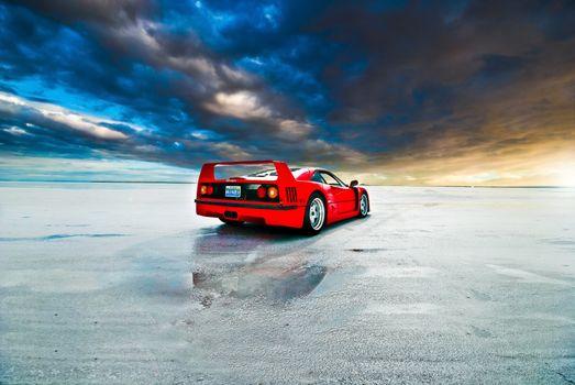 Photo free Ferrari, red, field