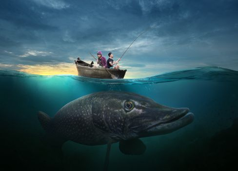 Photo free pond, boat, fishermen