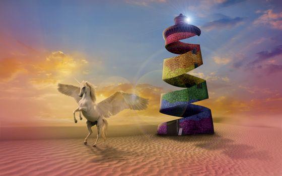 Фото бесплатно пустыня, башня, конь