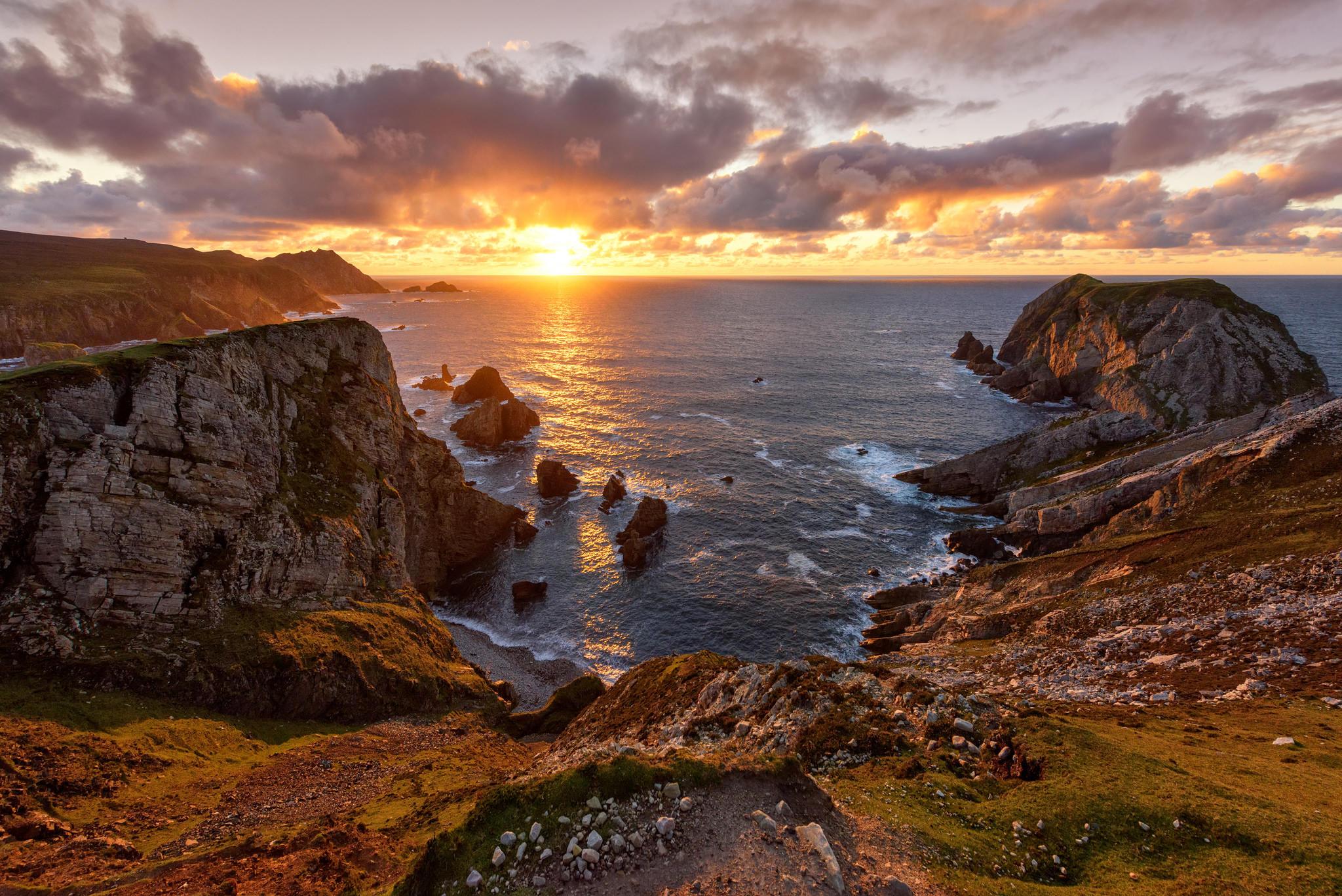 Обои закат, море, скалы, берег