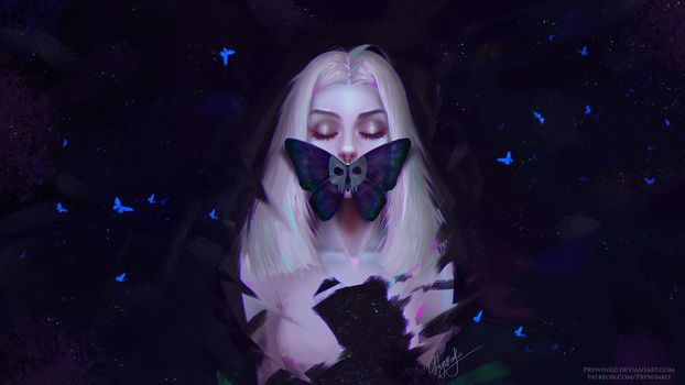 Заставки фантазии, женщина, закрыв глаза