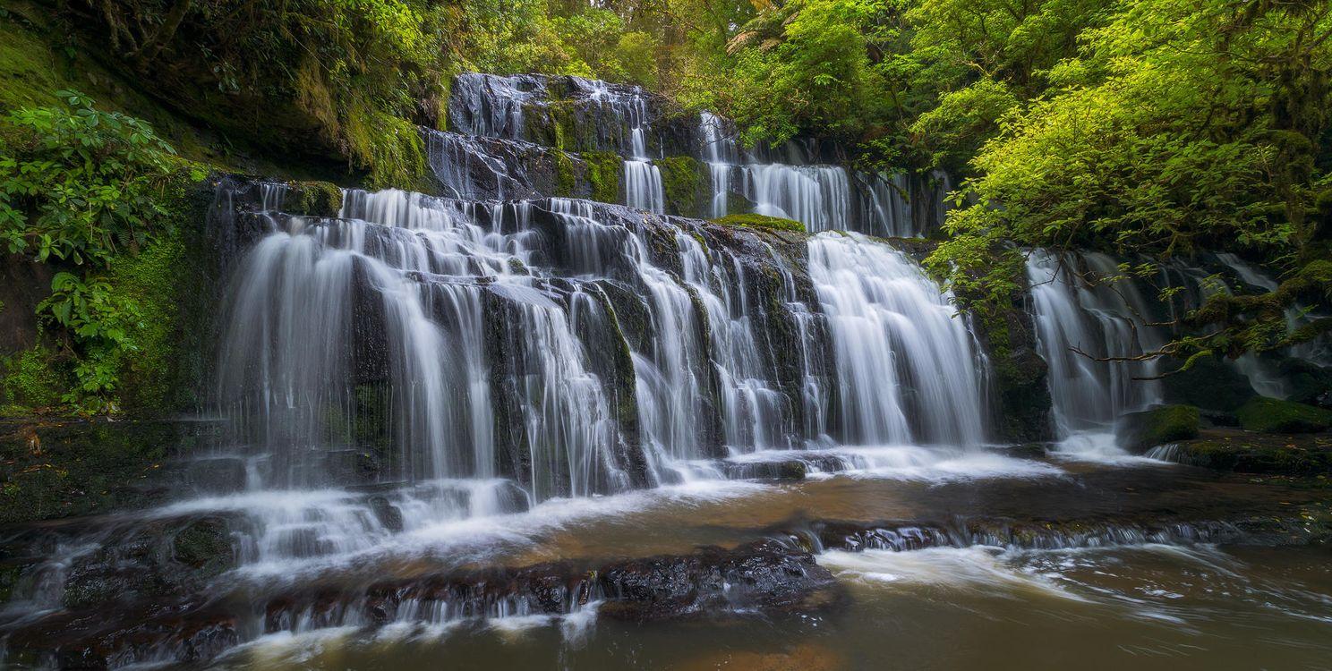 Обои лес, деревья, скалы, водопад, природа на телефон | картинки природа - скачать