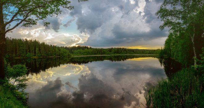 Скачать закат, озеро обои бесплатные