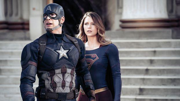 Фото бесплатно супер-девочка, капитан америка, вселенная доктора наук