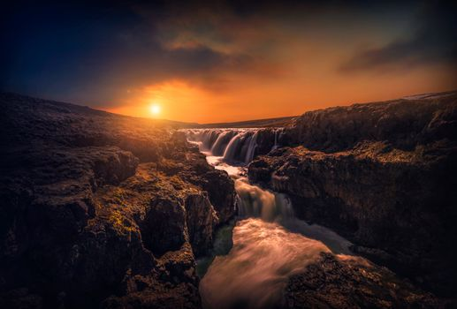 Photo free cliffs, waterfall, clouds