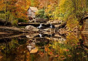 Бесплатные фото Glade Creek Grist Mill,West Virginia,Мельница у ручья Глэйд,Западная Вирджиния,США,осень,водопад