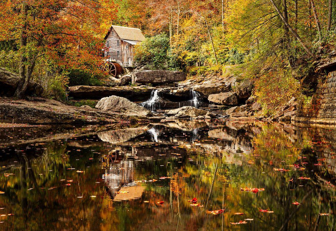 Фото бесплатно Glade Creek Grist Mill, West Virginia, Мельница у ручья Глэйд - на рабочий стол