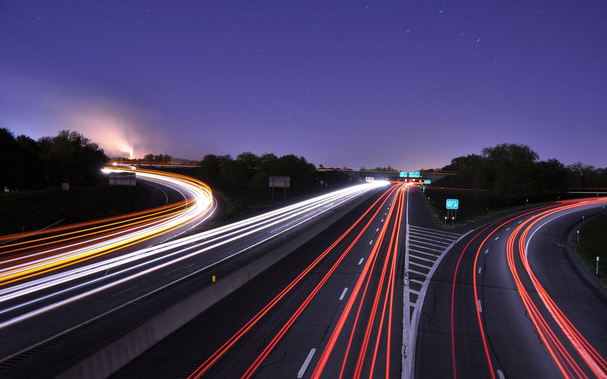 Фото бесплатно дорога, огни, линии - на рабочий стол