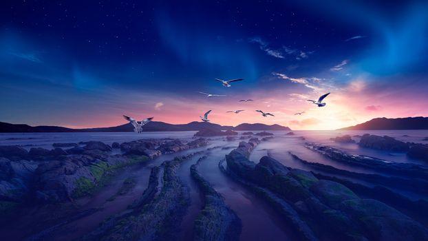Фото бесплатно закат, искусство, пейзаж