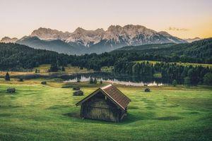 Бесплатные фото горы,Альпы,хижина,Горное озеро,Гармиш,Гармиш-Партенкирхен,луг деревья
