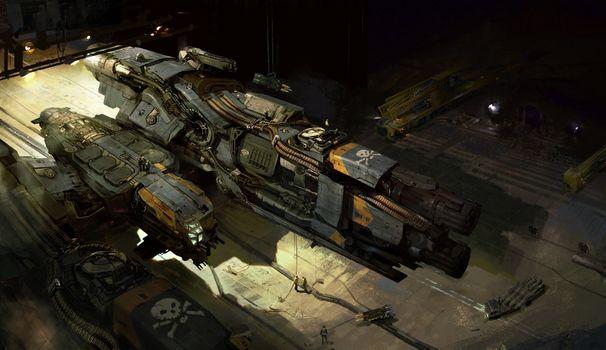 Заставки космический корабль, гараж, художественное произведение