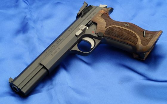 Photo free pistol, blue background, sig p20