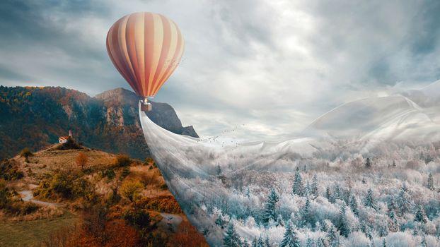 Photo free air ball, surrealism, clouds