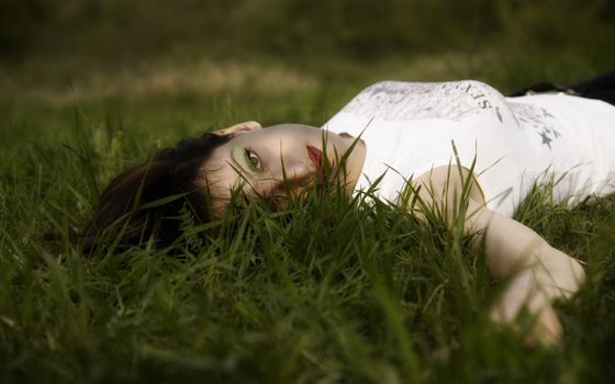 Photo free girl, grass, girl in the grass