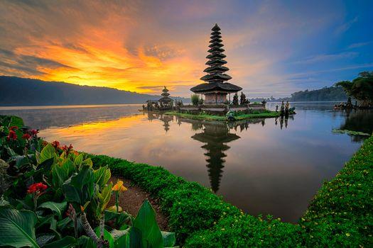 Бесплатные фото Бали,Индонезия,море,Храм Улун Дану,восход солнца,морской пейзаж
