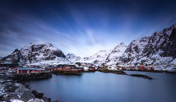 Фото бесплатно дома норвежского типа, горы, природа