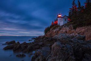 Bass Harbor Lighthouse, Acadia National Park, Maine, море, маяк