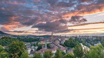 Бесплатные фото Берн,Швейцария,город,закат