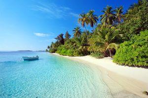 Бесплатные фото Мальдивы,тропики,море,остров,пляж,пальмы,лодка
