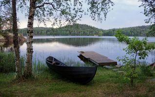 Фото бесплатно река, лодка, берег, деревья, причал, природа, пейзаж
