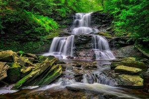 Фото бесплатно деревья, водопад, Ricketts Glen State Park