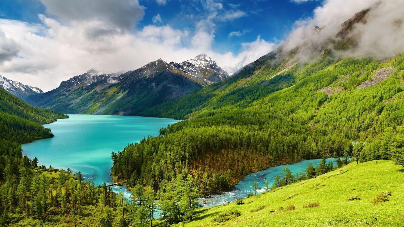 Фото бесплатно горы, деревья, альпийское озеро - на рабочий стол