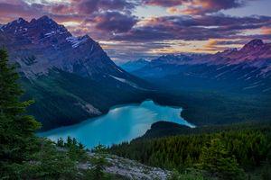 Бесплатные фото Peyto Lake, Banff National Park, Alberta, Canada, горы, озеро, закат