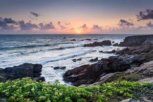 Бесплатные фото Морбиан, Франция, Бретань, закат, море, скалы, волны