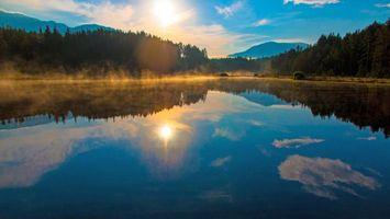 Бесплатные фото озеро, закат, лес