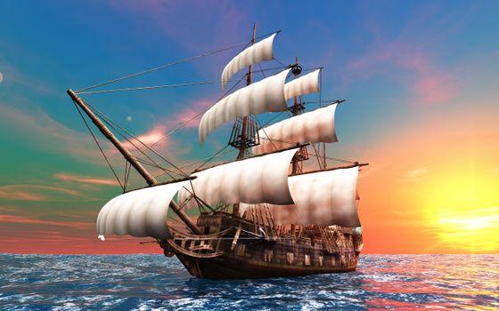 Photo free sailing ship, ocean, landscapes