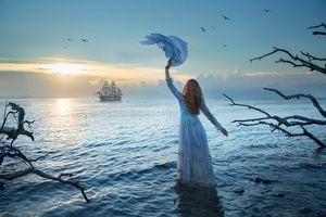 Фото бесплатно девушка, пейзаж, корабль