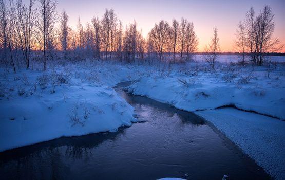 Фото бесплатно закат, снег, зима