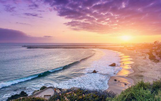 Photo free sunset, ocean, corona del mar newport