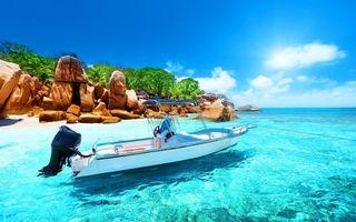 Бесплатные фото Сейшелы,тропики,море,остров,лодка