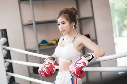 Asian boxer in gloves · free photo