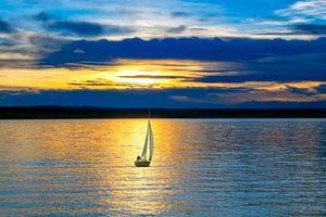 Обои море, яхта, закат