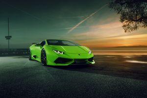 Фото бесплатно Lamborghini Huracan, зеленый, ночь