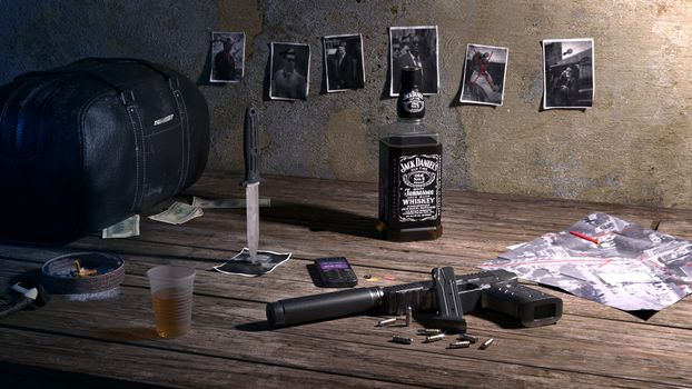 Photo free table, pistol, whiskey