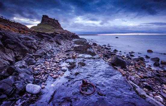 Фото бесплатно Святой остров, облачный восход солнца Снято на Холи-Айленде, Нортумберленд