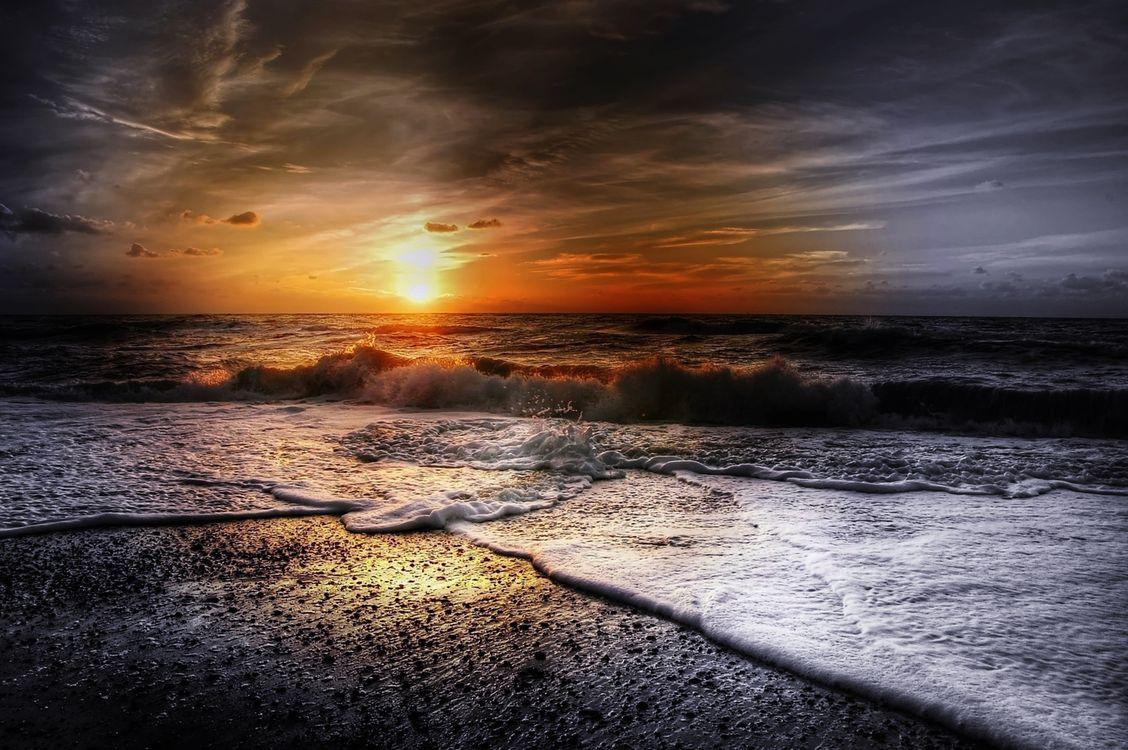 Фото бесплатно облака, волны, закат - на рабочий стол