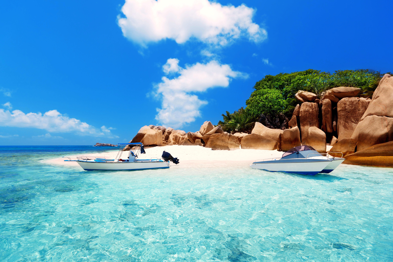 Сейшелы, тропики, море, остров, пляж, лодки